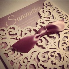 Romantic pink laser cut invitation