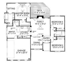 Bungalow Ranch House Plan 92434 Level One