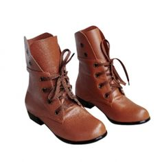 $17.50 Casual Women's Combat Boots With Solid Color Lace-Up Chunky Heel Round Head Design