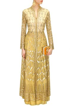 ANITA DONGRE Cream gota patti embroidered jacket with sharara pants available only at Pernia's Pop-Up Shop. Indian Gowns, Indian Attire, Indian Ethnic Wear, Pakistani Outfits, Indian Outfits, Ethnic Fashion, Asian Fashion, Anita Dongre, Anarkali Dress