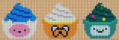 Esse vai para os fãs do desenho Hora de Aventura :D Lindos cupcakes dos personagens do desenho. (Serve para fazerperler beads também!)