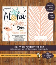 Aloha Baby Shower invitation - Hawaiian baby shower - Flamingo Baby Shower - Pineapple - Luau - Aloha Hawaii invitation -Item 0342