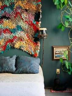 COLOURS: I really love this green colour for walls, especially with the colours in the hanging rug - maybe kitchen?