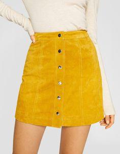 84ae589bdf Stradivarius Suede Skirt, Pinafore Dress, Zara, Button Up, Skater Skirt,  Outfits