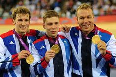 Jason Kenny, Philip Hindes & Sir Chris Hoy. Gold, Team Sprint. London 2012 Olympics track cycling