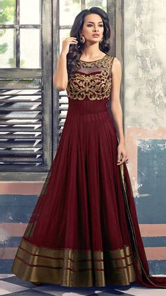 Buy Mert India Designer Coper Maroon Gown (premium Quality ) online, Latest Mert India Designer Coper Maroon Gown (premium Quality ) by Pratibha Sarees | latest Anarkalis Shopping online at Craftsvilla