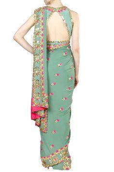 Sarees, Sarees, Clothing, Carma, Jade Green Embellished Saree With Blouse ,  ,