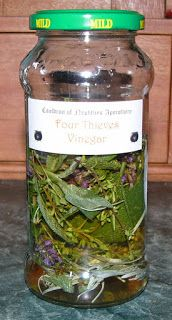 The Country Witch's Cottage: Four Thieves Vinegar:   Rosemary Sage Thyme Lavender Wormwood Mint Apple Cider Vinegar