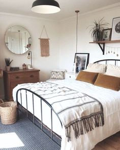 - A mix of mid-century modern, bohemian, and industrial interior style. Home and apartment decor, decoration ideas, home Stylish Bedroom, Cozy Bedroom, Bedroom Decor, Design Bedroom, Modern Bedroom, Bedroom Bed, Bed Design, Minimalist Bedroom Boho, Natural Bedroom