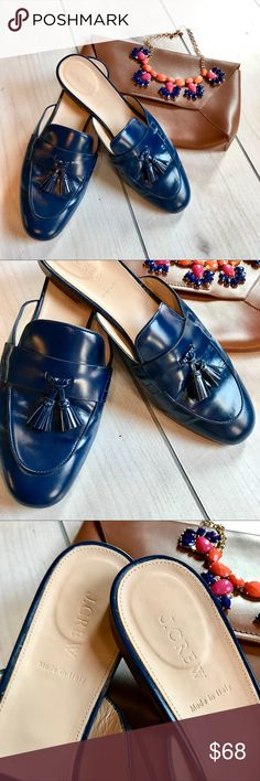 J. Crew Leather Tassel Smoking Slipper Mules Navy color. 2 tassels on each shoe. Leather. Made in Italy. In good used condition. Some wear (leather wrinkles) as pictured. No scuffs or stains. Really stylish chic shoes that add a sophisticated + subtle pop of color to any outfit. Size 9.5, but run slightly smaller so could also fit a 9. J. Crew Shoes