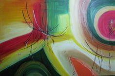 Pintura abstrata, realizada sobre painel com acabamento nas laterais. dispensa moldura. Tamanho: 80cm x 120 cm..