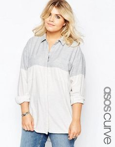 ASOS CURVE Blocked Twill Boyfriend Shirt