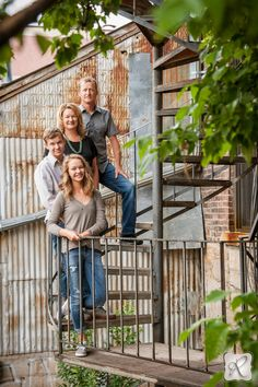 Outdoor Creative Family Photos on Staircase by Allison Ragsdale Photography