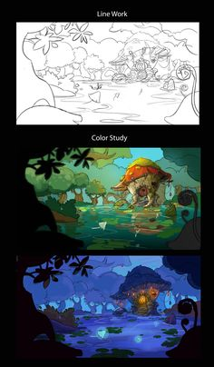 One concept painting of my game scene Digital Art Tutorial, Digital Painting Tutorials, Art Tutorials, Concept Art Tutorial, Cartoon Background, Animation Background, Illustrations, Graphic Illustration, Landscape Drawings