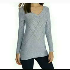 WHBM lightweight sweater size XL Great quality.  Brand new with tags so it's perfect for Christmas.  Size XL. Lightweight.  Light blue and silver. White House Black Market Sweaters
