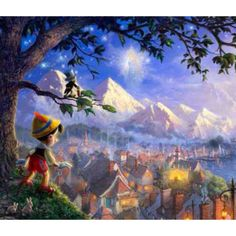 Thomas kinkade Disney dreams collection :) These paintings are amazing. So many hidden characters.