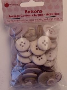 WOODWARE - ASSORTED BUTTONS LAVENDER (BT005)    Assorted sizes, shades and shapes of buttons for your card making, scrap booking and all craft projects. Approx 60gms.