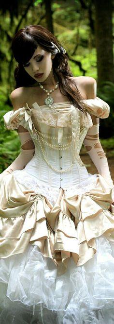 Victorian Period Steampunk  Corseted Wedding Gown c. 1870.