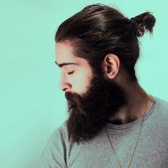 Giulio Aprin - beautiful full thick black beard and mustache beards bearded man men mens' style long hair topknot bun handsome #beardsforever