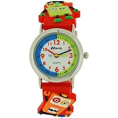 Ravel Funtime Boys 3D Robots Design Time Teacher Strap Watch