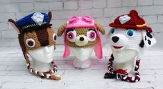 Paw Patrol crochet hat. Chase Skye and Marshall by KrazyHats1