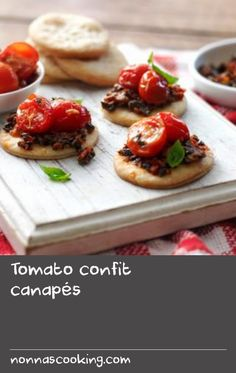 These stylish vegetarian canapés make impressive party food to serve with drinks. Vegetarian Canapes, Confit Recipes, Shortcrust Pastry, Cherry Tomatoes, Baked Potato, Yummy Food, Foods, Drinks, Stylish