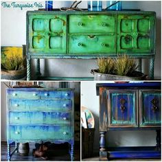 moebel streichen Pretty Furniture Makeovers by Turquoise Iris! Turquoise Furniture, Funky Painted Furniture, Chalk Paint Furniture, Distressed Furniture, Recycled Furniture, Refurbished Furniture, Shabby Chic Furniture, Furniture Makeover, Homemade Furniture