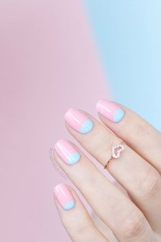 Style POP: The mix of rose and serenity colored nail art like this one will sure add a pop to any outfit.