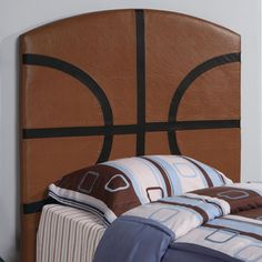 Complete the sports theme in your child's bedroom with this Coaster Furniture Youth Sports Collection Twin Headboard . The sturdy wood headboard. Basketball Bedroom, Basketball Design, Football Design, Sports Basketball, Kids Sports, Modern Headboard, Bed Frame And Headboard, Upholstered Headboards, Diy Headboards