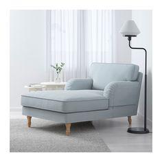 STOCKSUND Chaise, Remvallen blue/white, light brown/wood Remvallen blue/white light brown