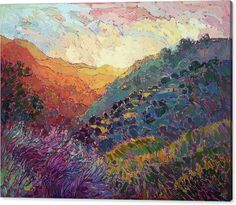 Wine Country Canvas Print featuring the painting Mandarin Hills by Erin Hanson