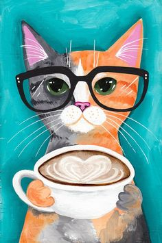 A Latte With Love  Original CAT Folk Art Print by KilkennycatArt on Etsy