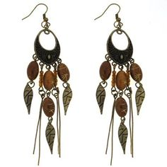 Brass Brown Bead Chandelier Dangle Earrings