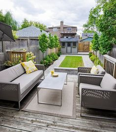 A backyard that showcase a nice, long rectangular patch of well-manicured lawn is the ideal playing field for a game of boccie, croquet, horseshoes or lawn bowling.