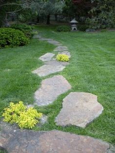 Large flat stepping stone path in grass