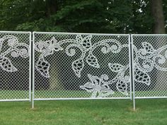 Lace fence by Demakersvan 4 Architecture Design, Navy Walls, Collections Of Objects, Fence Art, Yarn Bombing, Decorative Panels, Irish Lace, Atlantic City, Chain Link Fence