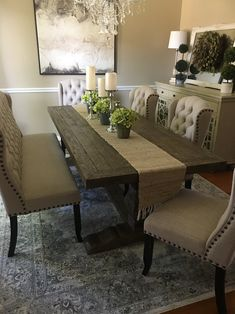 A traditional design gets a dash of rustic character with this rectangular dining table. A trestle base with molded details below brings out its classic side. Measuring L x W x H, this generously sized design seats eight comfortably. Assembly is required. Dinning Room Table Decor, Dining Room Table Centerpieces, Solid Wood Dining Table, Dining Table In Kitchen, Dining Room Design, Dining Table Decor Everyday, Farmhouse Table Decor, Dining Table With Bench, Farmhouse Dining Room Rug