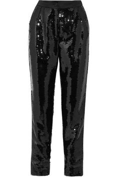 Dolce & Gabbana - Sequined Satin Tapered Pants - Black - IT