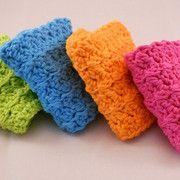 Gentle Ridges dishcloths shown in neon colors
