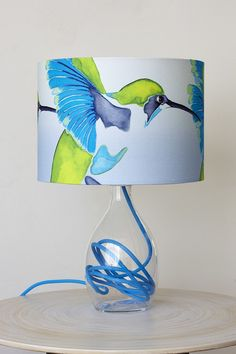 I Spy - Anna Jacobs Painterly Lampshades Painting Lamp Shades, Painting Lamps, Custom Lamp Shades, Lamp Light, Diy Light, Light Table, Cyan Blue, Mason Jar Lighting, Jar Lights