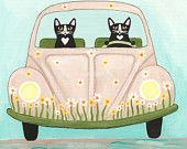 "Daisy Bug Road Trip Whimsical Cat-Volkskunst Drucken 8 ""x 8"""