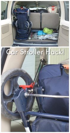 Tips and Tricks - Hacks for New and Old Moms Car Hack. Tired of a stroller that takes up the entire trunk – stand it up! This family used a bungee cord to stand the stroller up-right providing room for groceries, suitcases and more! Toddler Tips and Trick Stroller Storage, Bob Stroller, Baby Life Hacks, Car Hacks, Trendy Baby, Just In Case, Baby Car Seats, Bungee Cord, Coupon
