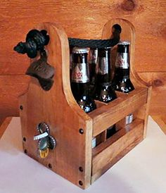 Personalized Rustic Wood Beer Caddy with Bottle Opener and Magnetic Cap Catch – Holds standard 12oz beer or soda bottles and cans