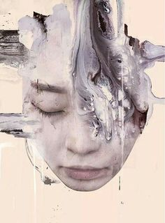 Januz Miralles - unnamed- photography and acrylic - this piece is very open to interpretation about what the message behind it could be, I like this ambiguity because it means each person has a different view about what this piece is demonstrating. Abstract Portrait, Portrait Art, Life Drawing, Painting & Drawing, Pop Art, A Level Art, Figurative Art, Art Day, Fine Art Photography