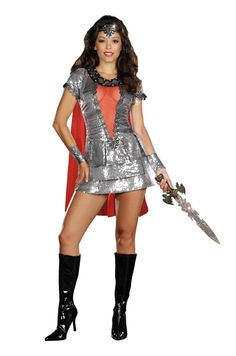 Sexy Shimmering Knight Warrior Silver Sequin Costume Dress Adult
