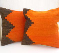 SET OF TWO Orange Throw Pillows Hand woven by PillowTalkOnEtsy, $119.00