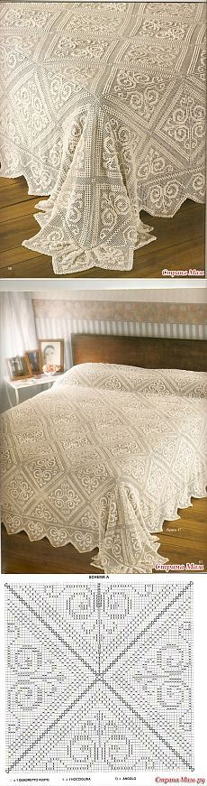 Bedspread and fillet crochet
