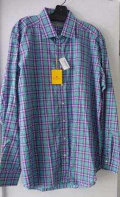 Etro Men's NWT Purple Checked Long Sleeve Shirt Size XL 44 Neiman Marcus $295 #Etro #ButtonFront