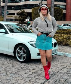 Joseph - of course! Men Wearing Skirts, Androgynous Look, Red Boots, Billboard, Denim Skirt, Joseph, How To Look Better, Bmw, Heels