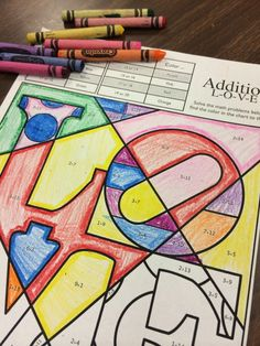 Valentine's Day math coloring sheet.